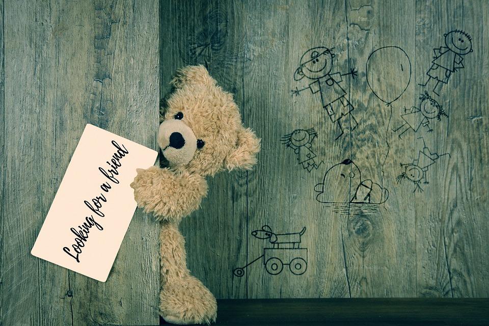 テディ, テディー ・ ベア, 孤独な, 孤独, 検索, 友情, 友人, ボード, 壁, 図面, 子供