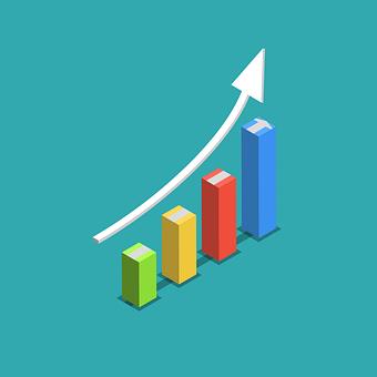 グラフ, 矢印, 3 D, インフォグラフィック, 成功, ビジネス, 成長