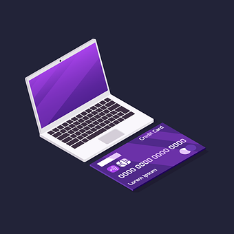 Laptop, Credit Card, Infographic, 3D