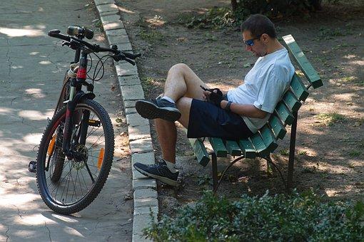 Mann, Jung, Telefon, Fahrrad, Park