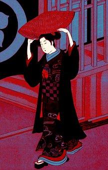 Woman, Geisha, Kimono, Traditional