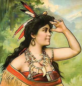 Woman, Feathers, Native, Indian