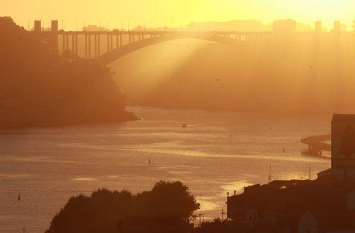 Bridge, River, Boats, Sunset, Sunbeam
