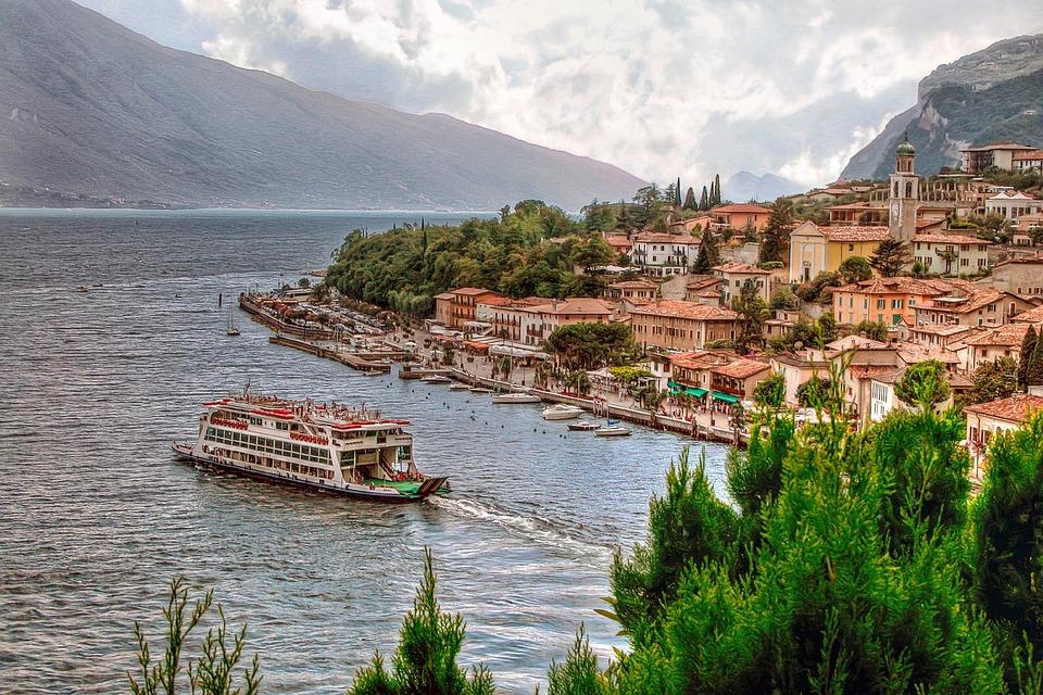 Tó, Garda-Tó, Olaszország, Lombardia, Csónak, Komp
