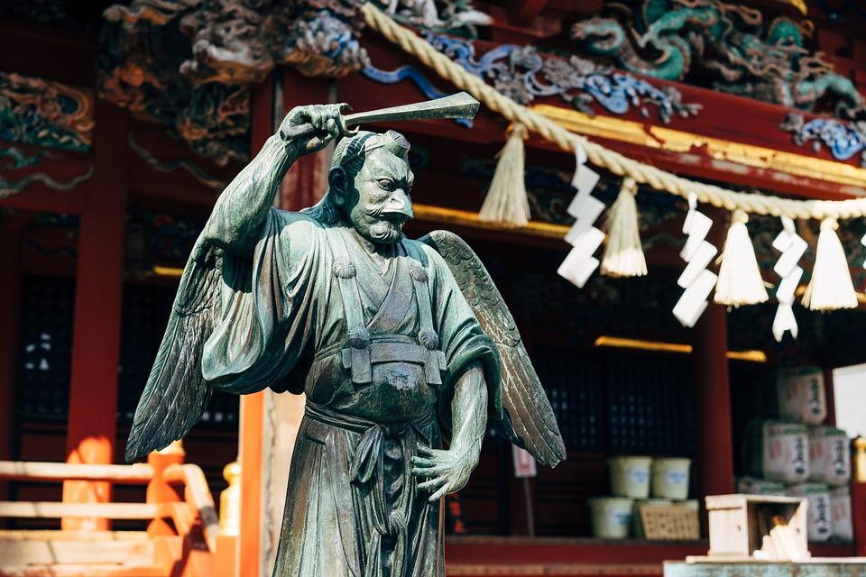 神社, 神道, 高尾山, 像, 彫刻, アーキテクチャ, アンティーク, 記念碑, アート, 宗教, 石
