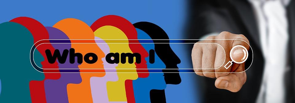 顔, シルエット, 検索バー, 指, タッチ, 一体何者なのか、という, 意味, 質問, 存在, 実存主義, 自己紹介