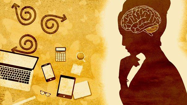 Woman, Brain, Laptop, Smartphone, Lady