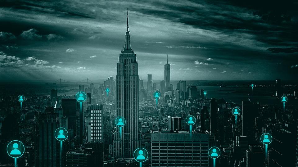 Business, Technology, Ville, Line, Téléphone, Mobile
