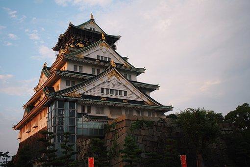 城, 建物, 屋根, 伝統的な, アーキテクチャ, 大阪, 日本, アジア