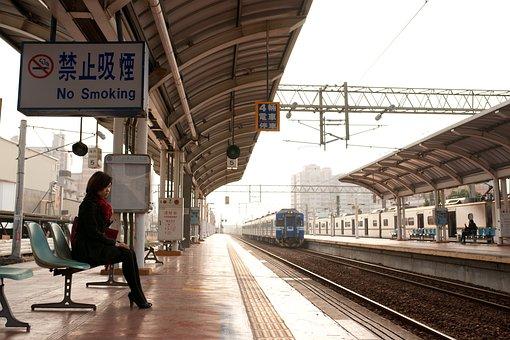 Woman, Platform, Waiting, Train, Tracks
