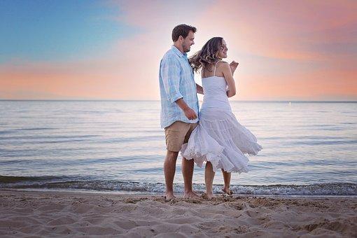 ビーチ, 徒歩, 散歩, 日没, 愛, カップル, 愛する, ロマンチック