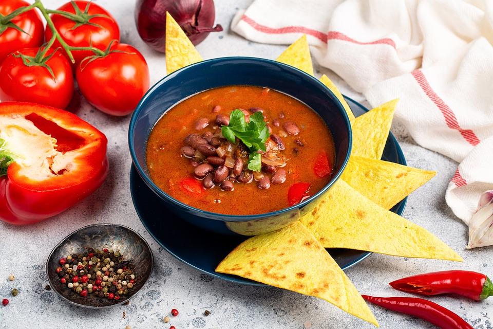 餐, 菜, 板, 汤, 食品, 蔬菜, 蕃茄, 豆类, 胡椒, 芯片, 午餐