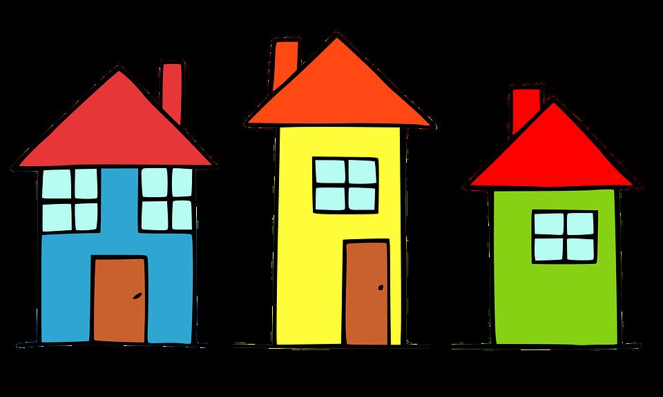 Häuser, Gebäude, Malerei, Zeichnung, Dorf, Fenster