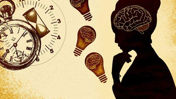 女性, クロック, 電球, 砂時計, 時間, 期限, スケジュール, 時計