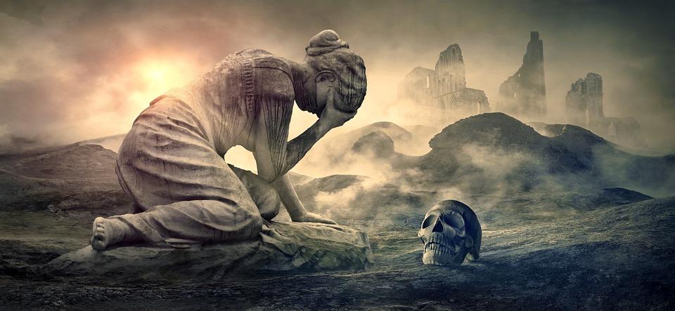 Żałoba, Kobieta, Płakać, Zniszczenia, Ból, Emocje