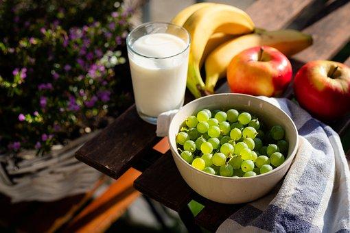 健康, 食品, 果物, ダイエット, ブドウのボウル, リンゴ, バナナ