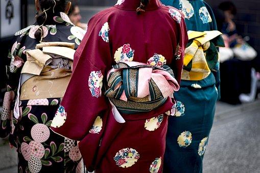 着物, 衣装, 戻る, カラフルです, 女性, 伝統, 日本, 着物, 着物