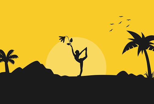 Yoga, Pose, Silhouette, Sunrise, Nature