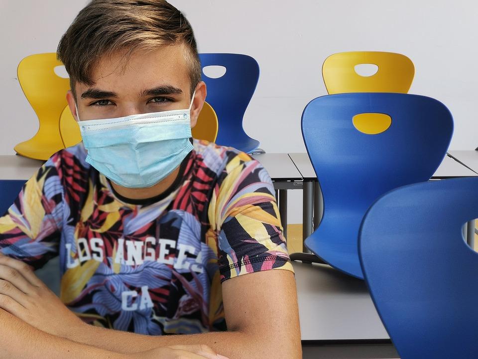 Estudante, Escola, Protetor Bucal, Máscara Facial