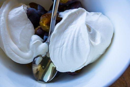 Dessert, Quark, Plums, Plum Curd, Honey
