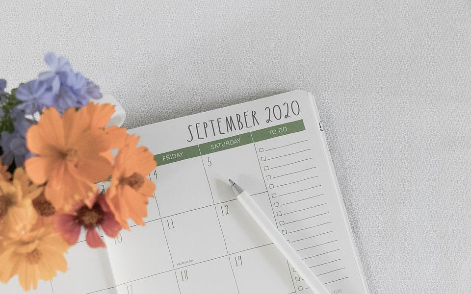 Planificador, Septiembre, Calendario, Programación