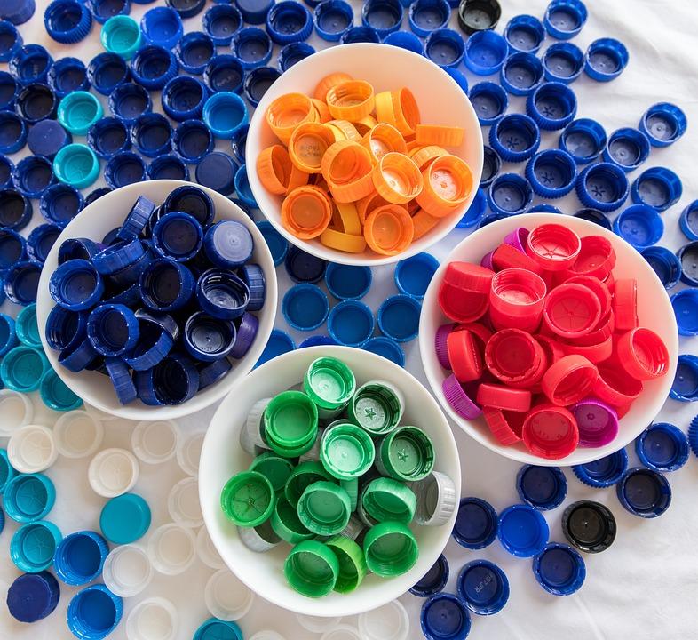 プラスチック, 蓋, 廃棄物, リサイクル, 生態学, 水, 環境, 並べ替え, カラフルです