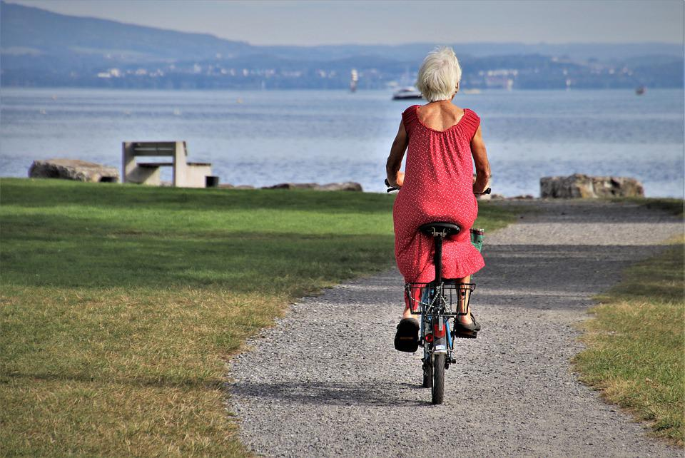 Park, Bike, Senior, Lonely, Cycling, Woman, Old Woman