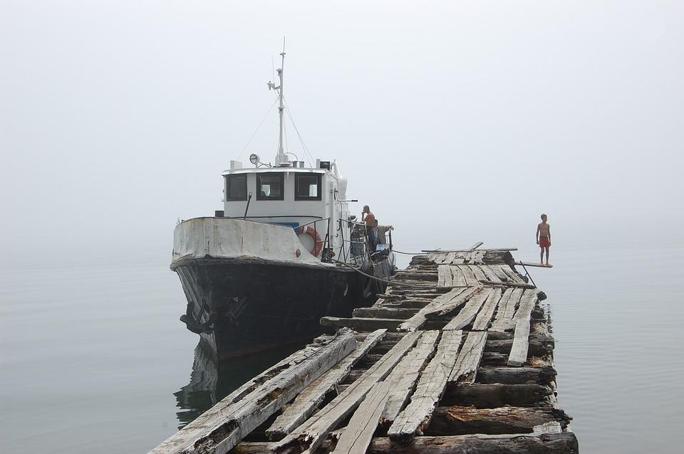 Boat, Baïkal, Lake, Water, Landscape, Siberia, Pier