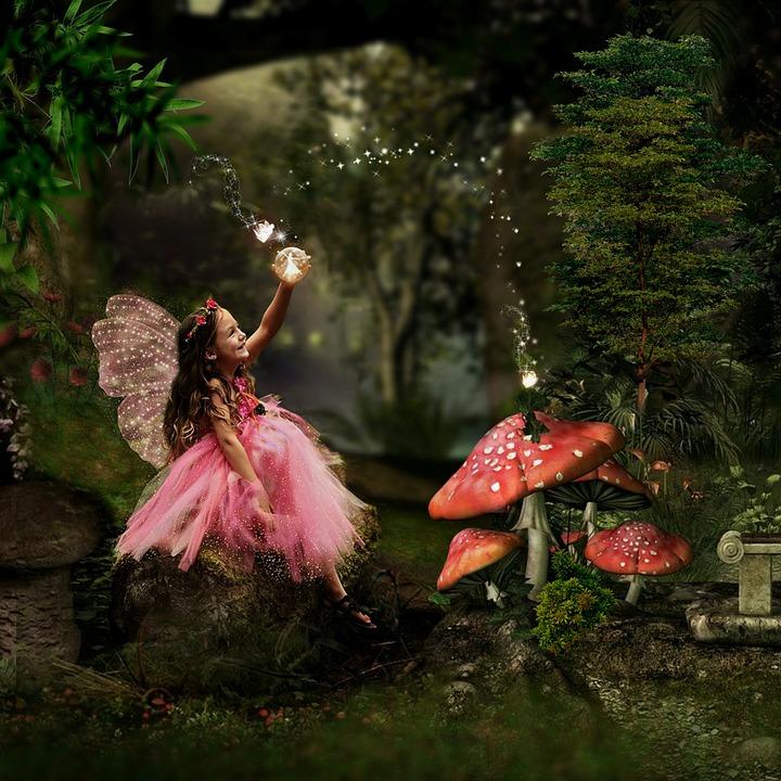 Niña, Modelo, De Hadas, Forestales, Árboles, Magia