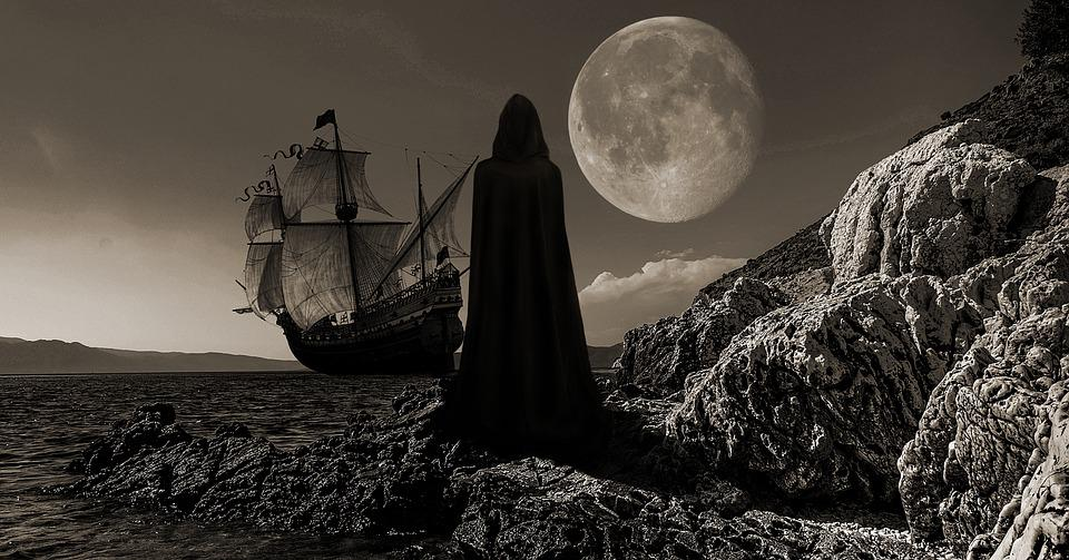 Ship, Sail Ship, Moon, Ocean, Sea, Sailing Vessel