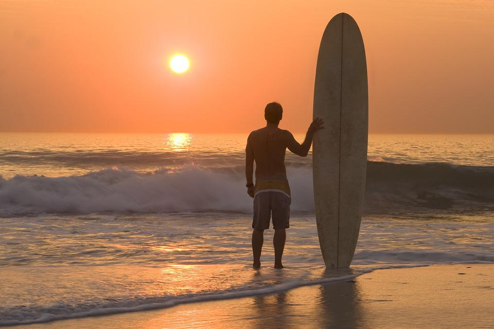 日没, ビーチ, サーフィン, サーファー, サーフィン ボード, 海, ウォーター スポーツ, スポーツ