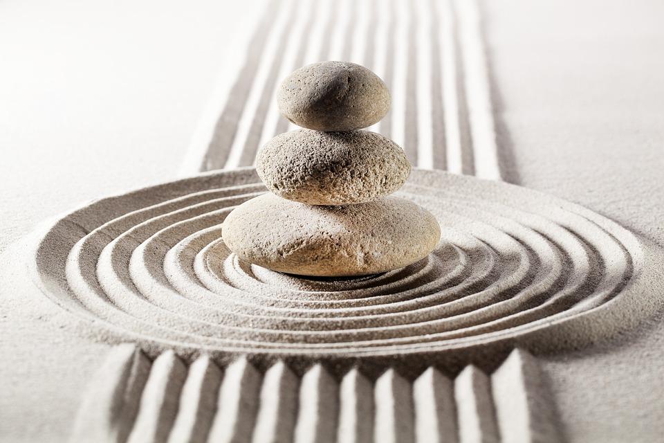 禅, 砂, 石, 残高, 瞑想, ヨガ, スピリチュアリティ, 仏教, ウェルネス, リラクゼーション