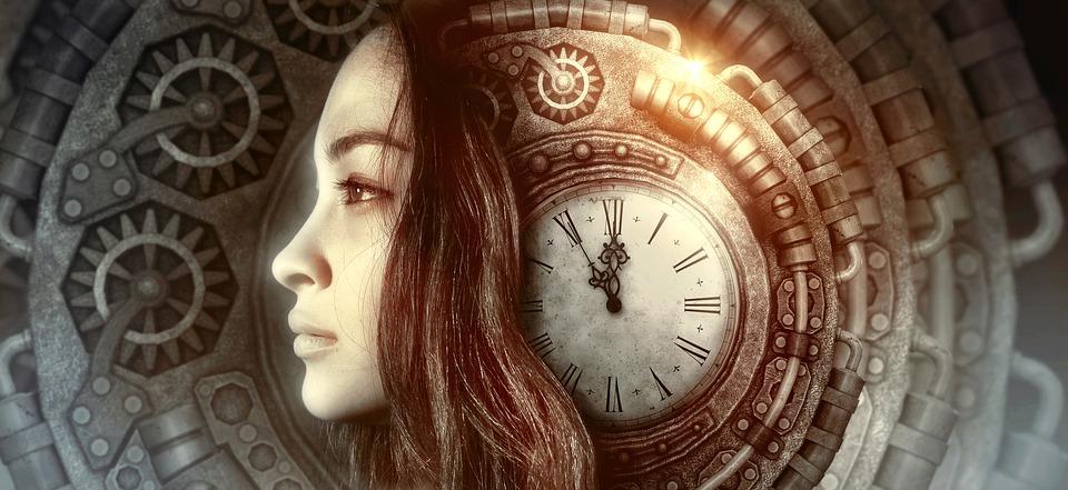 ファンタジー, 肖像画, クロック, 時間, 女性, スチーム パンク, 光, 金属, 神秘的です, 神秘的な