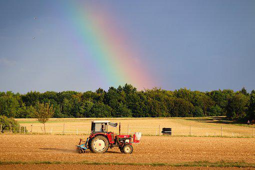 Tracteur, Arc En Ciel, Sur Le Terrain