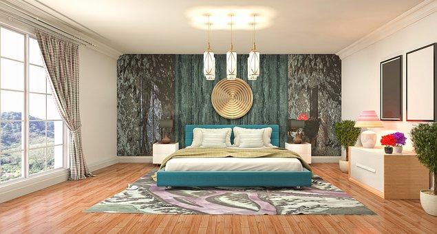 Bedroom, Interior Design, 3D Rendered