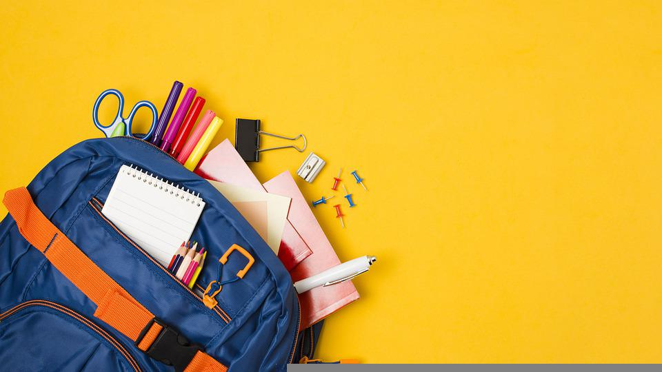 School Supplies, Stationery, Backpack, Copy Space