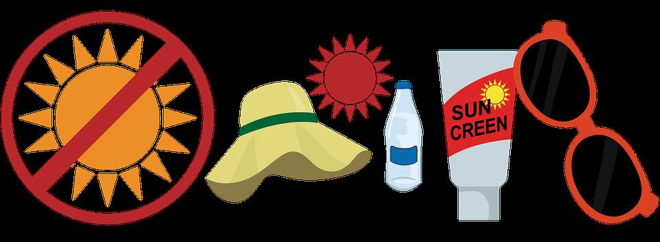Heat Stroke Prevention, Icons, Stickers, Sunglasses