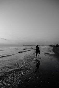 Beach, Woman, Black And White, Girl, Sad