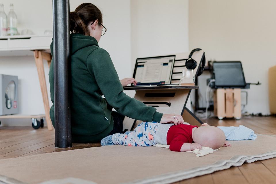 Woman, Computer, Desk, Baby, Job, Home Office, Homework