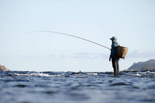 釣り, 漁師, 釣り竿, 生活, 海, 海洋, 水, ワーカー, アジア人
