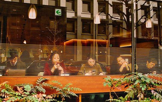 バー, レストラン, 忙しい, 人, ガジェットで忙しい人, 技術, 近代的な
