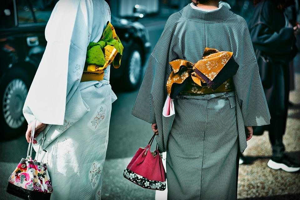 着物, 伝統的な, 伝統的なドレス, 伝統的な衣装, 戻る, カラフルです, 日本人女性, 伝統, 日本