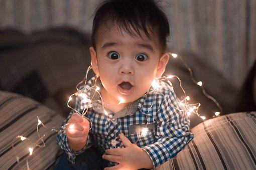 赤ちゃん, 小さな男の子, トッドリー, ライト, クリスマスライト, 装飾