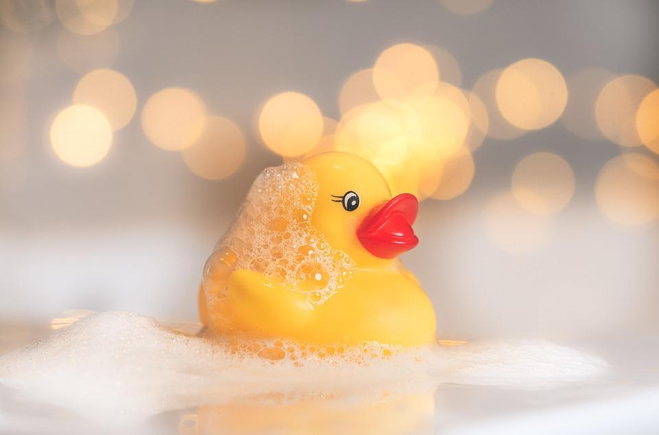 ゴム製のアヒル, 玩具鴨, お風呂, 鴨, ウェット, シャボン玉, かわいい