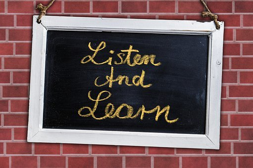 Board, Listen And Learn, Text, Quote