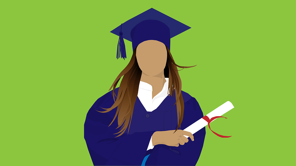 Illustration of a girl in graduation gown with diploma