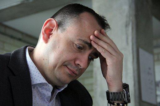 考える人, 思考, 思考の男, 男, 男性, 強調, 頭痛の種, 頭が痛い