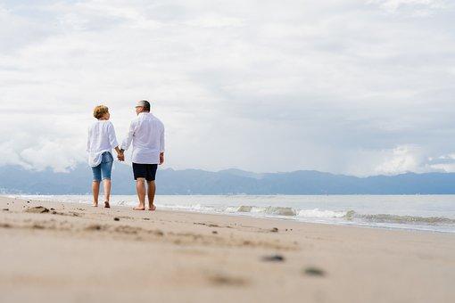 Beach, Couple, Leisure, Stroll, Romantic