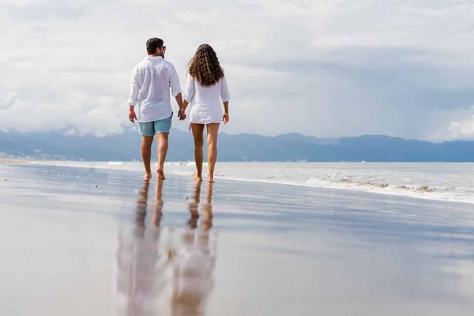 Beach, Coppia, Tempo Libero, Una Passeggiata, Romantico