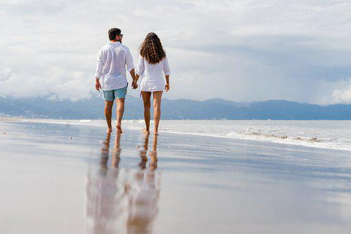 Beach, Couple, Leisure, Stroll, Romantic